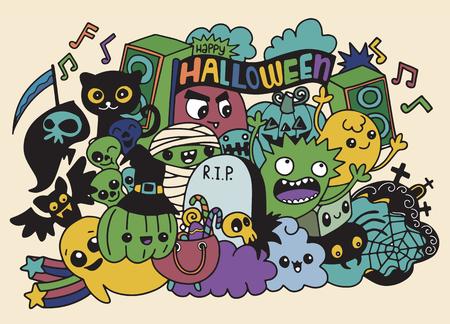 Ilustración de vector de monstruos y lindo fantasma amable, fresco, lindo colección de monstruos dibujados a mano Foto de archivo - 88525153