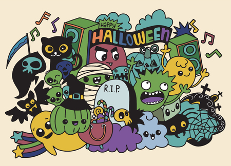 Vector illustration of Monsters and cute ghost friendly, cool, cute hand-drawn monsters collection
