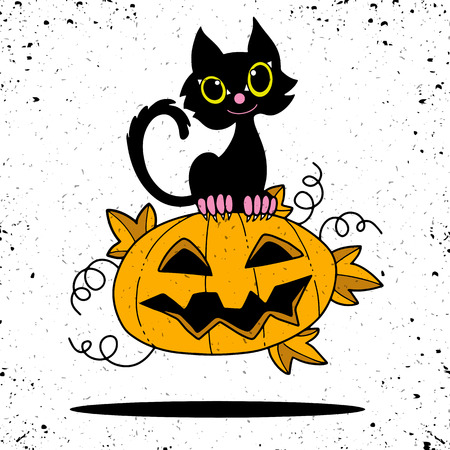 Illustration of Halloween kitten are lying happily on a pumpkin,flat style,Vector Illustration