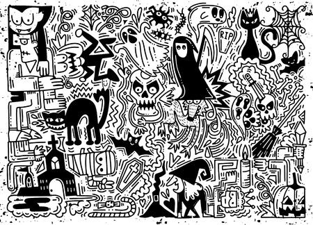 手落書きハロウィーンのベクトル図を描かれた背景、カボチャ、猫、コウモリ、幽霊、頭蓋骨などのハロウィーンのパターン  イラスト・ベクター素材