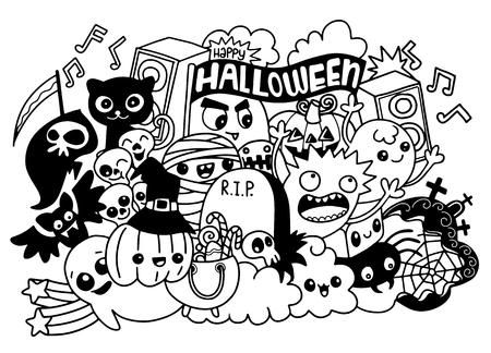 Illustration vectorielle de monstres et collection de monstres mignons dessinés à la main mignons, cool, mignons Banque d'images - 88525199
