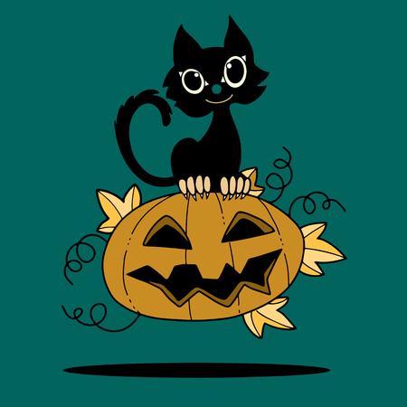 Illustration of Halloween kitten are lying happily on a pumpkin,flat style,Vector Illustration