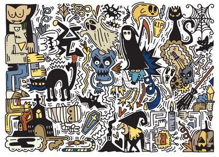 Hand Drawn Vector Illustration of Doodle Halloween background , Halloween  pattern with pumpkin, cat, bat, ghost, skull, etc, Illustration