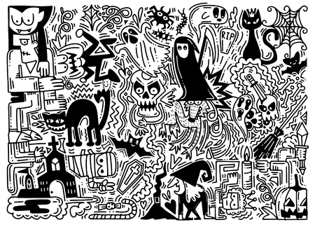 Hand drawn vector illustration of doodle Halloween background. Halloween pattern with pumpkin, cat, bat and more.