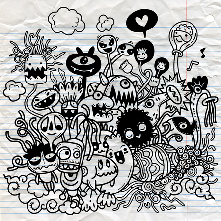 Vector illustration of Cute hand-drawn Halloween doodles, Notebook Doodle Design Elements on Lined Sketchbook Paper Illustration