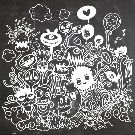 Vector illustration of Cute hand-drawn Halloween doodles, Notebook Doodle Design Elements on Lined Sketchbook Paper Illustration Stock Vector - 88414870