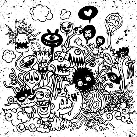 Vector illustration of Cute hand-drawn Halloween doodles, Notebook Doodle Design Elements on Lined Sketchbook Paper Illustration Stock Vector - 88414875