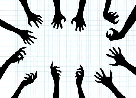 Zombie Hand Silhouette Clip Art Ontwerp Vector, vectorillustratie.