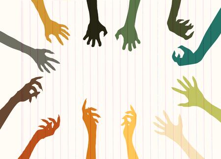 cruel: Zombie Hand Silhouette Clip Art Design Vector , vector illustration.