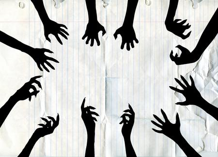 Zombie Hand Silhouette Clip Art Design Vector , vector illustration.
