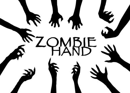 Vector del diseño del arte de clip de la silueta de la mano del zombi, ilustración del vector.