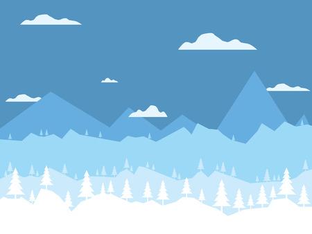 Winterlandschap achtergrond. Platte vectorillustratie