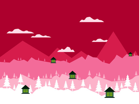 Flat Design village landscape. Ecology, environmental protection, Abstract Vector Town. Vector illustrations