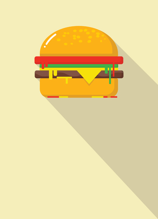 hamburger icon with long shadow with copy space. flat style vector illustration Ilustração