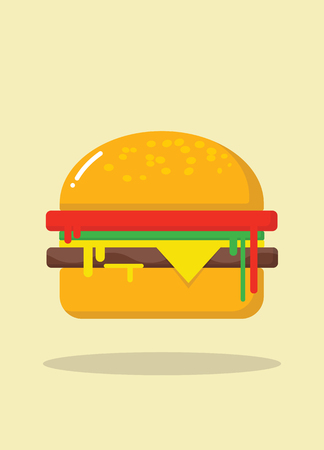 hamburger icon with float shadow. flat style vector illustration
