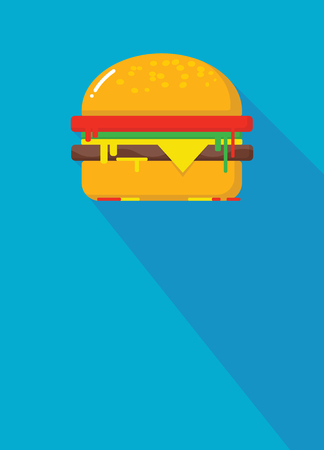 hamburger icon with long shadow with copy space. flat style vector illustration Ilustrace
