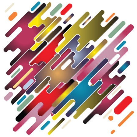 Modern style abstraction with composition made of various rounded shapes in color. Vector illustration.