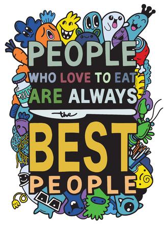 Mensen die dol zijn op het eten van typografie keuken poster. Snijd monster met voedselgerelateerd citaat. Kunst aan de muur koken print. Vector vintage illustratie. Stock Illustratie