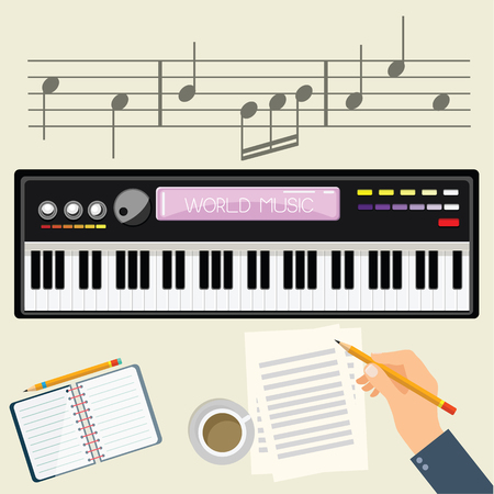 Illustration of a man with a electronic piano . Ilustrace