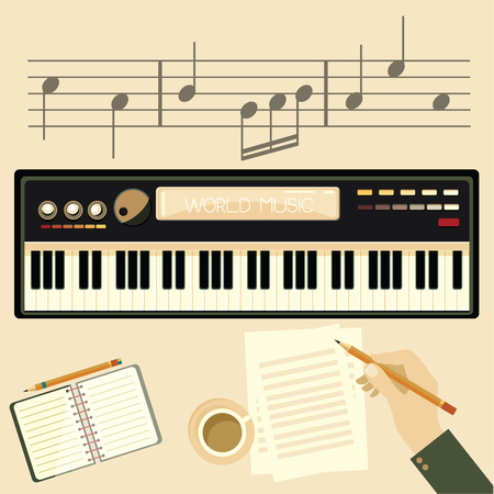 Illustration of a man with a electronic piano. Man hands playing piano and writes on parer for notes. Ilustrace