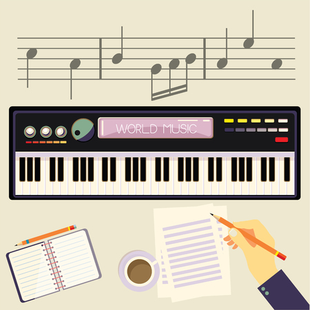 Illustration of a man with a electronic piano. Man hands playing piano and writes on parer for notes. Illustration
