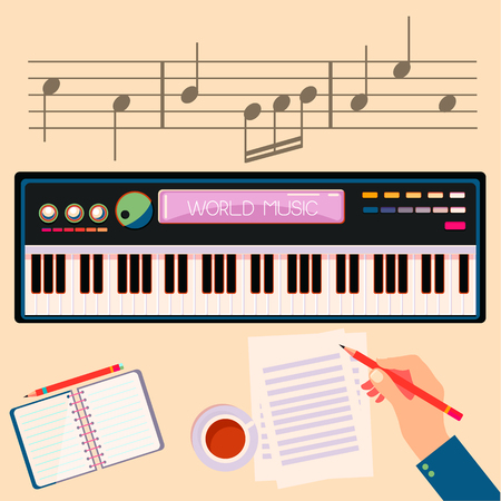 Illustration of a man with a electronic piano. Ilustrace