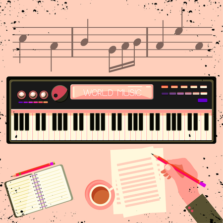 Illustration of a man with a electronic piano. Illustration