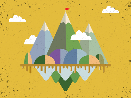 Landscape with flag on the mountain. Success concept illustration. Overcoming difficulties. Çizim