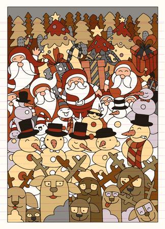 Vector illustratie van Doodle Kerst achtergrond, hand tekenen Doodle