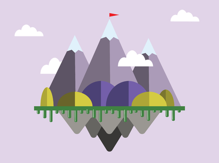 Landscape with flag on the mountain. Success concept illustration. Overcoming difficulties. Illusztráció