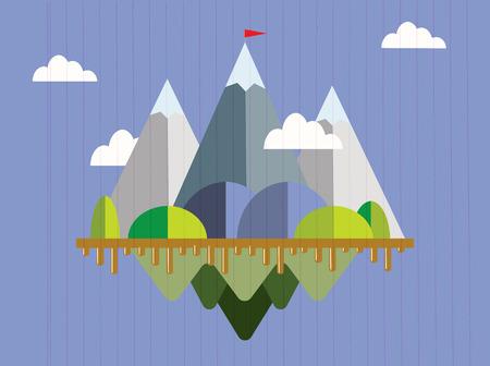 Paisaje con el indicador en la montaña. El éxito concepto de ilustración. La superación de dificultades.
