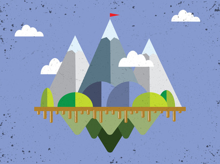 Landscape with flag on the mountain. Success concept illustration. Overcoming difficulties. Ilustração