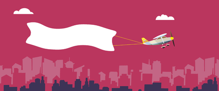 Plane with white banner flying above the city. Background for your text or advertisement. Vector illustration.