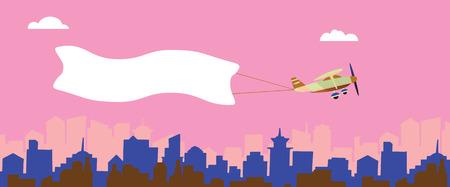 都市の上の白い旗の飛行を持つ平面。テキストや広告の背景。ベクトルの図。  イラスト・ベクター素材
