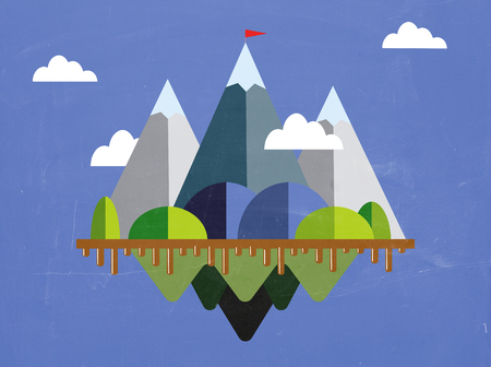 Landscape with flag on the mountain. Success concept illustration. Overcoming difficulties. 向量圖像