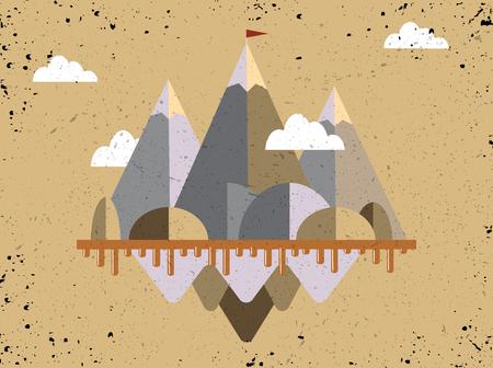 山の上の旗のある風景します。成功の概念図。困難を克服します。