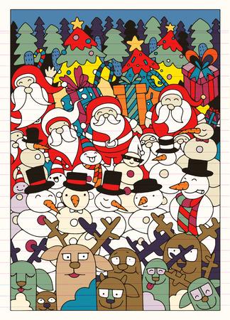 手描き落書き落書きクリスマス背景のベクトル イラスト