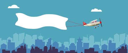 Avion avec bannière blanche volant au-dessus de la ville. Contexte pour votre texte ou publicité. Illustration vectorielle Banque d'images - 89084177