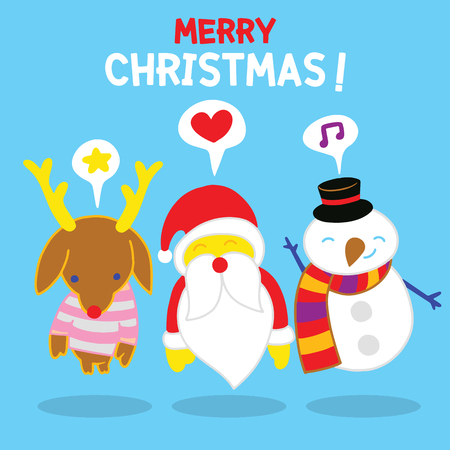 Merry Christmas! Happy Christmas companions.Set of round flat Christmas characters. Contain cute fat vector cartoon characters like santa claus,snowman and reindeer. Illustration