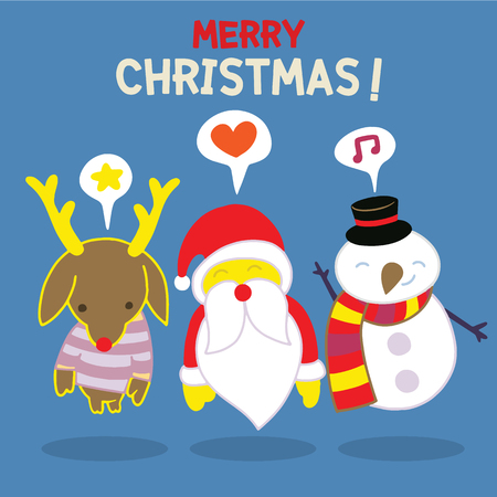 Fröhliche Weihnachten! Happy Christmas companions.Set von runden flachen Weihnachten Zeichen. Enthalten Sie nette fette vektorzeichentrickfilm-figuren wie Weihnachtsmann, Schneemann und Ren. Standard-Bild - 89276257