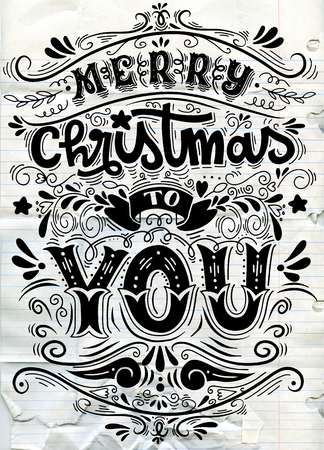 Merry Christmas Everyone, Vintage Background With Typography and Elements,Vintage hand-lettering Christmas greetings on blackboard background with chalk
