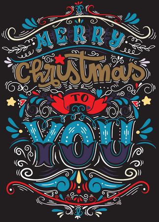 メリークリスマスみんな、タイポグラフィと要素とヴィンテージの背景、チョークで黒板の背景にヴィンテージ手レタリングクリスマスの挨拶  イラスト・ベクター素材
