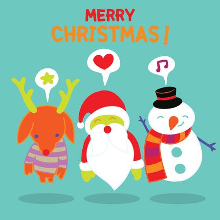Merry Christmas! Happy Christmas companions.Set of round flat Christmas characters. Contain cute fat vector cartoon characters like santa claus,snowman and reindeer. Illusztráció