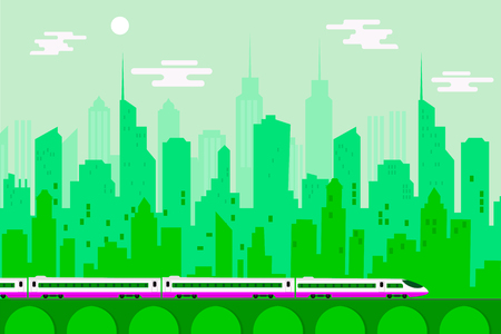 High speed train with urban city, Vector illustration template design