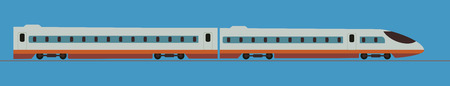 Passenger express train. Railway carriage ,Vector Illustration