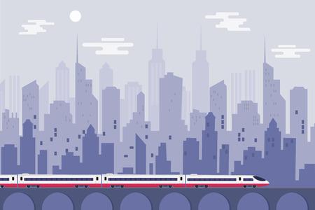 Hogesnelheidstrein met stedelijke stad, het Vectorontwerp van de illustratiemalplaatje