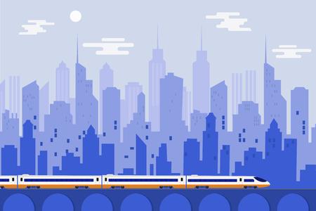 都市都市と高速列車、ベクトルイラストテンプレートデザイン 写真素材 - 89684702