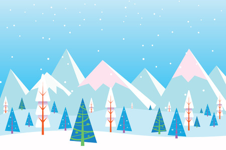 Christmas winter flat landscape background. Christmas forest woods with mountains. New Year vector greeting card