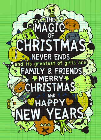 手描きのクリスマス カードのベクトルを設定します。招待状、ポスター、アパレル デザインのための大きい印刷物。楽しい休暇をお過ごしください  イラスト・ベクター素材