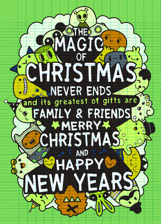 Vector set of hand drawn of Christmas greeting cards. Great print for invitation, poster, apparel design. Happy Holidays. monster. Holiday banners in cartoon style